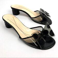 Kate Spade Black Python Leather Slide Heels Bow & Polka Dots Sandals