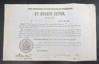 1826 Horace Eaton 18th Vermont Governor Justice Of The Peace Signed Appointment
