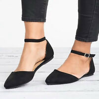 Women Ballet Flats Ankle Strap Shoes Ballerina Slipper Pointed Toe Dolly Shoes