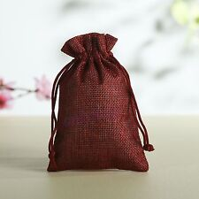 5 10 50 Wedding Favor Hessian Burlap Jute Favour Gift Bags Drawstring Sack Pouch