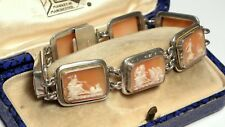 Antique Silver Natural Shell Cameo 7 days of the Week Gods & Godesses Bracelet