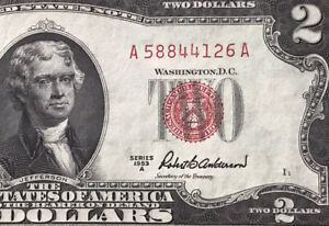 1953 A $2 DOLLAR BILL (Red Seal) MONTICELLO ,UNCIRCULATED