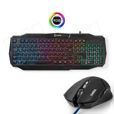 PC Gaming Tastatur + Maus 1600DPI Set LED RGB Regenbogen Deutsches Xbox One PS4