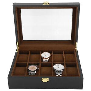 10 Grids Watch Box Case Display Organizer Collection Storage Holders+Buckle Lock