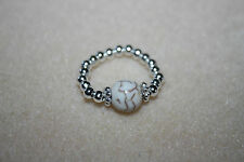 SALE SemiPrecious WHITE Turquoise & Silver Plated Beads Thumb Toe Ring Handmade