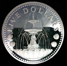 BARBADES 5 DOLLARS 1975 ARGENT PROOF