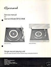 GARRARD SERVICE MANUAL for a MODEL SP 25 Mk III  - 1975