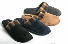 New Mens Warm & Cozy Faux Suede Plaid Easy Slip On House Slippers Shoes 8.5 - 13