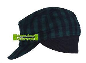 Criminal Green & Black Check Hat Cap Small Medium RRP £18 Free UK Shipping  NEW!