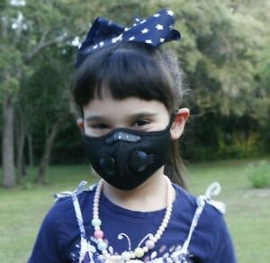 Childrens Sports Face Mask  5 Layer Filter Activated Carbon Pollution Cycling B