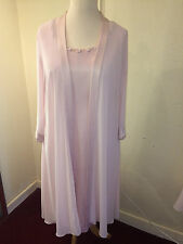 NWT VEROMIA PALE PINK SHIFT DRESS AND CHIFFON LONG SLEEVE JACKET SZ 16 rrp £635