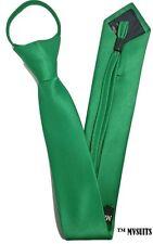 Men GREEN Skinny Slim Zip Up Neck Tie