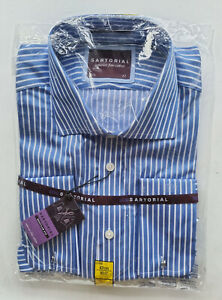 Men's MARKS & SPENCER SARTORIAL Superior Fine Cotton Blue/White Shirt 16/42 BNWT