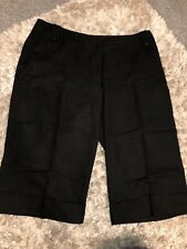 ladies black linen cropped trousers size 18