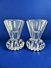 Pair Heavy Clear Glass Candle Holders Reversible For Taper Votive/Tealight 4 In