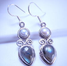Cultured Pearl and Labradorite 925 Sterling Silver Dangle Earrings