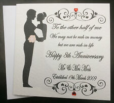 Personalised Wedding Anniversary card, Wife, Husband,Mr & Mrs