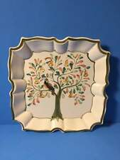 Made In Italy Ceramic Square Bird Plate Partridge In A Pear Tree Hand Painted