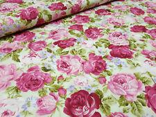 Stoff Baumwolle Popeline Rosen pink rosa grün blau Blusenstoff Kleiderstoff