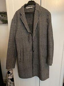 Zara Man Grey Plaid Coat Size X-Large