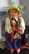"Vintage 1950s Austria Helga Ethnic Doll Cloth with Plastic Head 7"" Tall"