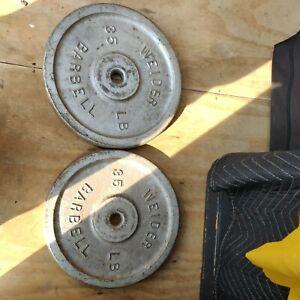 Lot of 2 Vinatge Weider 35 lb Cast Iron Metal Barbell Weight Lifting Plates