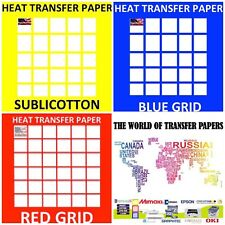 Transfer Papers For COTTON Shirts 10 Shts Each, RED Grid, Blue Grid, Sublicotton