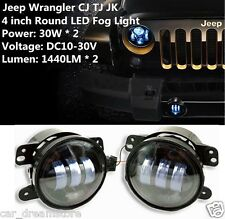 (2) Smoked LED Smoked Front Bumper Fog Lights For 2007-2016 Jeep Wrangler New