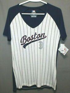 BOSTON RED SOCKS women's pullover short sleeve T-shirt sizes M~L blue/white NEW