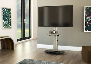Mahara TV Stand with Swivel VESA Bracket, Silver, with Black Glass up to 55""