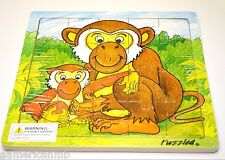 "MONKEY 20 pc Jigsaw Wood Puzzle 8""x8"" Educational Toy Wooden Wood Crafted Game"