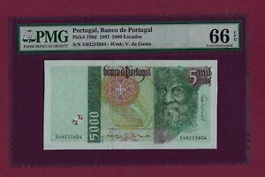 PORTUGAL Portuguese 5000 Escudos 1997 P-190 UNC graded