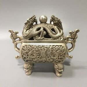 Collect tibet Silver copper Ssangyong play pearl Incense Burner Censer dragon