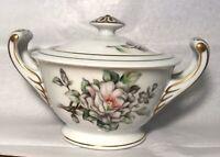 Jyoto Fine China Of Japan Sugar Bowl. Gold Trim. Flower Design.
