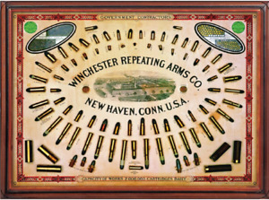 WINCHESTER REPEATING ARMS TIN SIGN AMMUNITION NEW HAVEN BULLET GUN RANGE