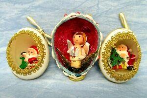Vintage Christmas Ornaments Egg Diorama handmade mid century kitsch angel Santa
