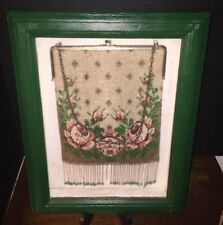 "Antique Beaded Purse 11x7  In Encased Frame  12.25"" X 15.25"""