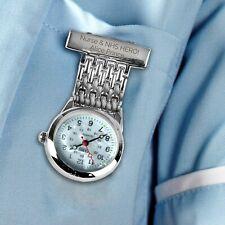 Personalised Nurse Watch Fob Medical Healthcare NHS Battery Brooch Fastening