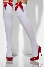 Ladies White Hold UPS Xmas Fancy Dress Costume Stockings With Red Bows