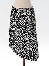 Women Trina Turk Asymetric Black White Polka Dot Geometric Rayon Skirt Size 2