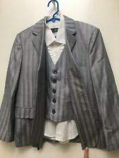 Boys jacket blazer suit dress shirt grey striped vest 9