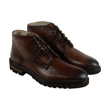 GBX Breccan Mens Brown Leather Casual Dress Lace Up Boots Shoes