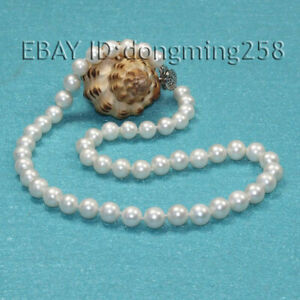 """2019 genuine 8-9mm white Freshwater cultured round natural Pearl necklace 18"""""""