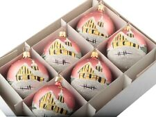Lot (6) hand painted winter scene Czech pink glass Christmas tree ornaments