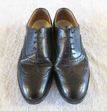 BALLY size 10 Mens Black Leather Oxfords with Brogue Perforations Bags Box NICE