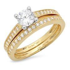 Ring Band set 14k 2 Tone Gold 1.20ct Round Cut Pave Moissanite Promise Bridal