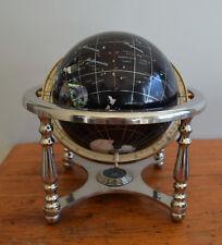 Black Ocean Semi-Precious Gem Stone Globe with 4 legged Polished Stand & Compass