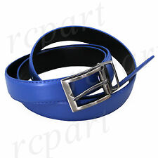 New faux leather Men's Belt Adjustable strap Royal blue with Silver buckle