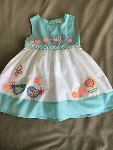 Baby Girls BHS BAMBINI Dress Embroidered Lined Cotton Age 9-12 Mths