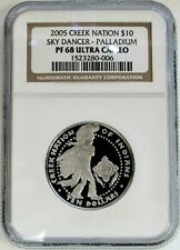 2005 CREEK NATION PALLADIUM $10 SKY DANCER 1/2oz COIN NGC PROOF 68 ULTRA CAMEO